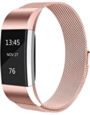 Tobfit For Fitbit Charge 2 Strap (2 Sizes), Metal Mesh Magnetic Clasp Stainless Steel Replacement Strap for Fitbit Charge 2