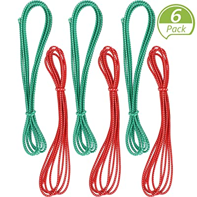6 Pieces Chinese Jump Rope 157 Inches Stretch Skip Rope Adjustable Chinese Elastic Rope Fitness Jump Game for Outdoor Exercise (Red, Green): Toys & Games