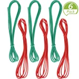 6 Pieces 79 Inches Chinese Jump Rope Red and Green Chinese Jump Rope Stretch Rope Elastic Fitness Jump Game for Popular Outdoor Exercise