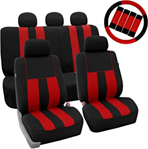 FH Group FB036115 Striking Striped Seat Covers (Red) Full Set with Gift – Universal Fit for Cars Trucks & SUVs