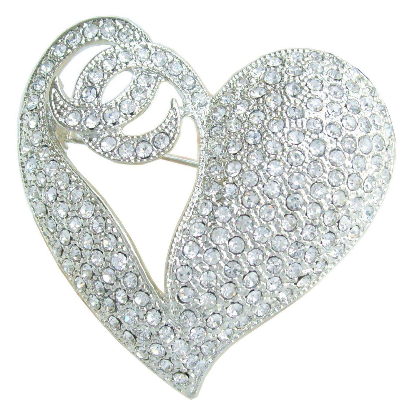 1.97'' Rhinestone Crystal Love Heart Brooch Pin Pendant BZ4831 (Silver-Tone Clear)