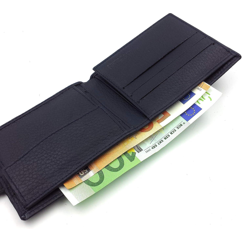 FJR-ArtPiel - Cartera, billetera, tarjetero, monedero tipo americano Piel Ubrique con bandera tricolor y cierre de trabilla - Alta Calidad - Azul ...