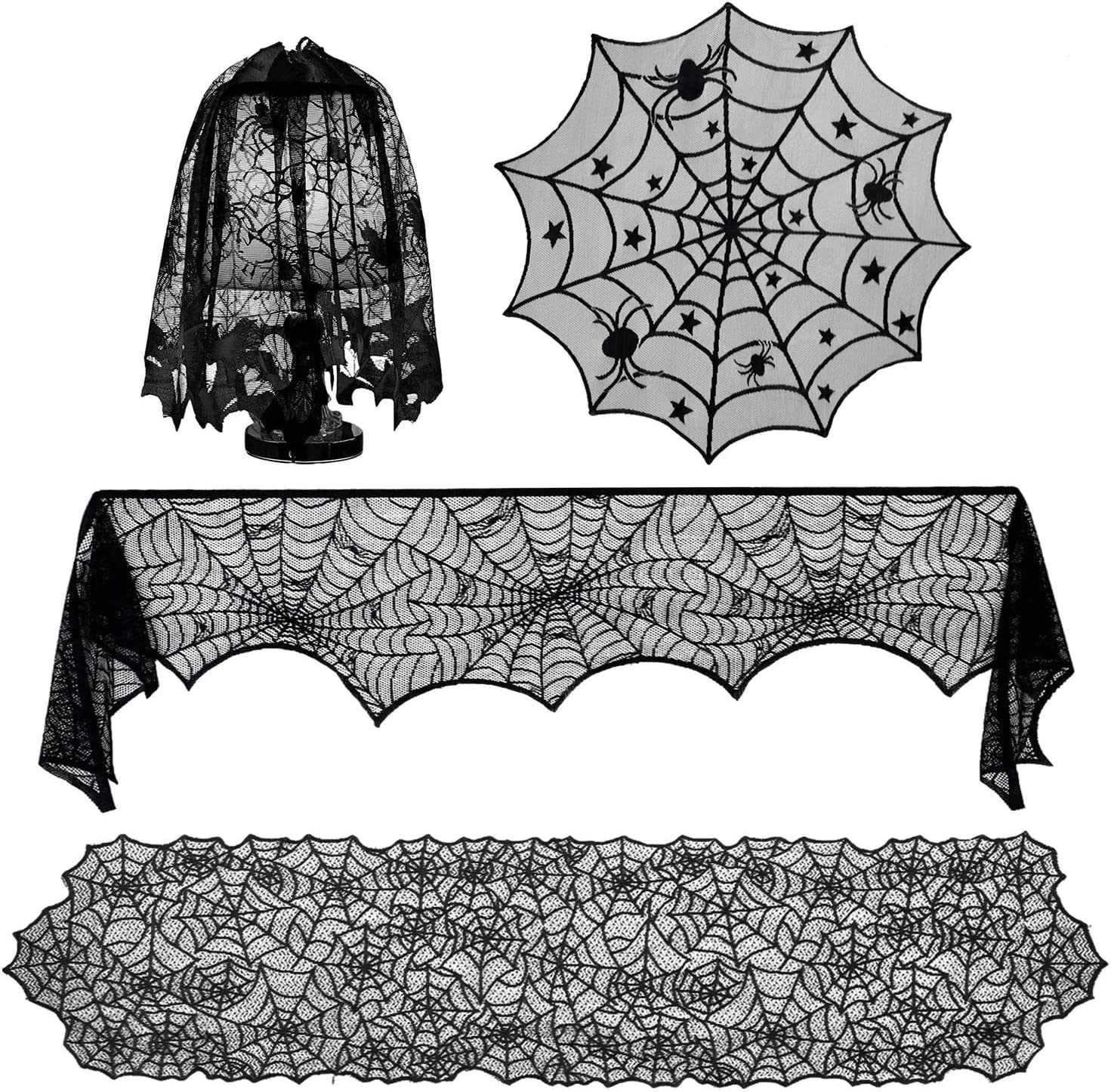 YXGOOD 4 Pcs Halloween Decorations Sets, Tablecloth Spooky Bat Spiderweb Lace Rectangular Tablecloth, Halloween Lamp Shades and Fireplace Scarf Cover