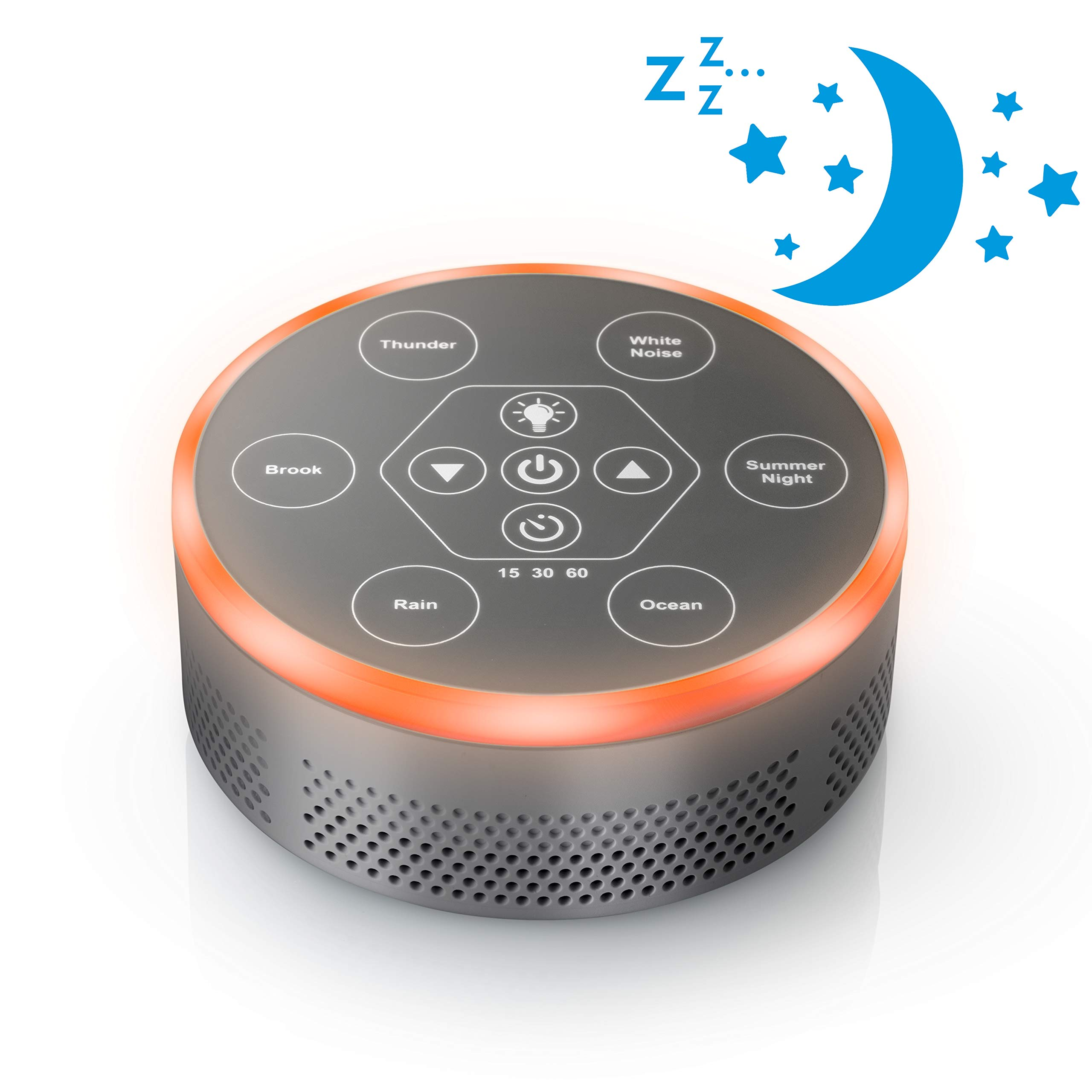 Dream Zone White Noise Sound Machine - Relaxing Sleep Therapy for Home, Office, Baby & Study - 6 Unique Music Settings, Timer, USB Charging Ports & Flickering Night Light (Silver)