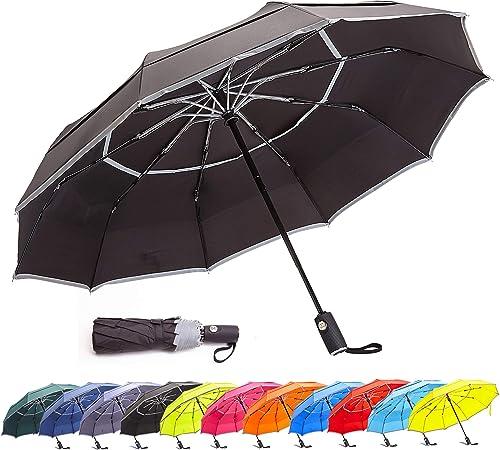 BANANA UMBRELLA Black Auto Close and Open Windproof Compact Travel Umbrella