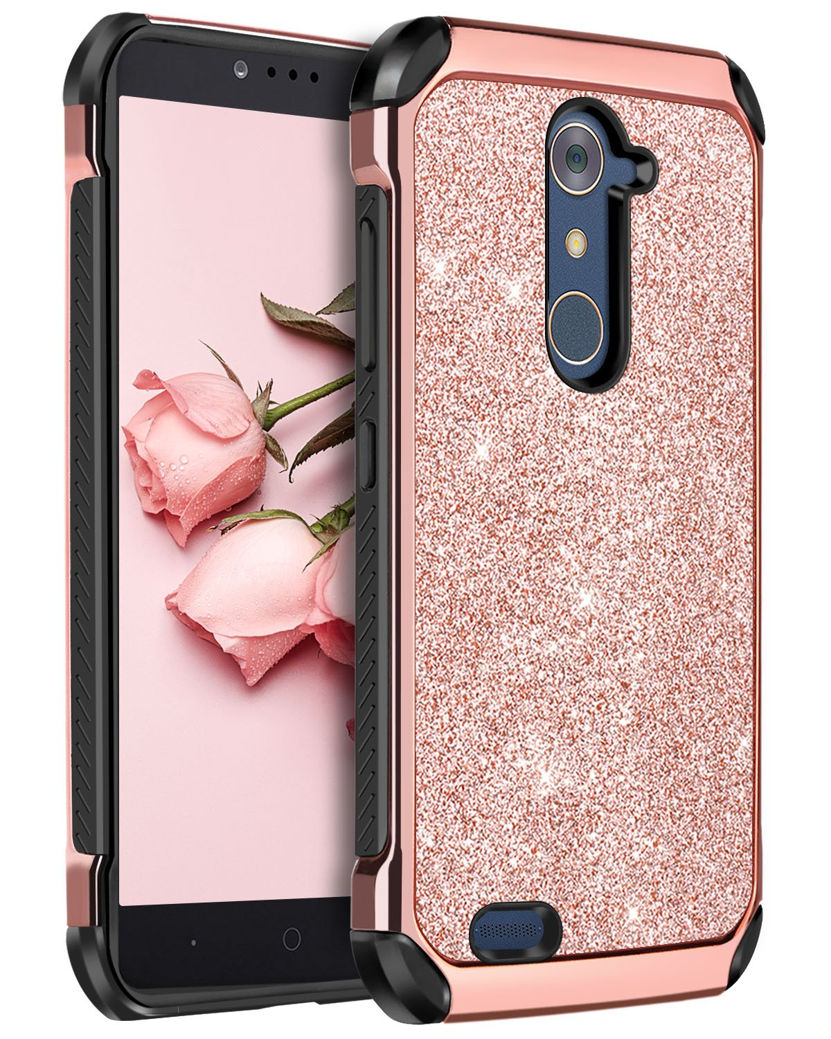 low priced 104ce 3bd0c ZTE ZMax Pro Case,ZTE Carry Z981 Case,ZTE Grand X Max 2 Case,ZTE Imperial  Max Case, BENTOBEN Bling Slim Hard Cover Shockproof Protective Case for ZTE  ...