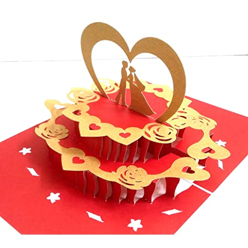 Konkanmart 3D Popup Invitation Greeting Card Love Couple On Cake