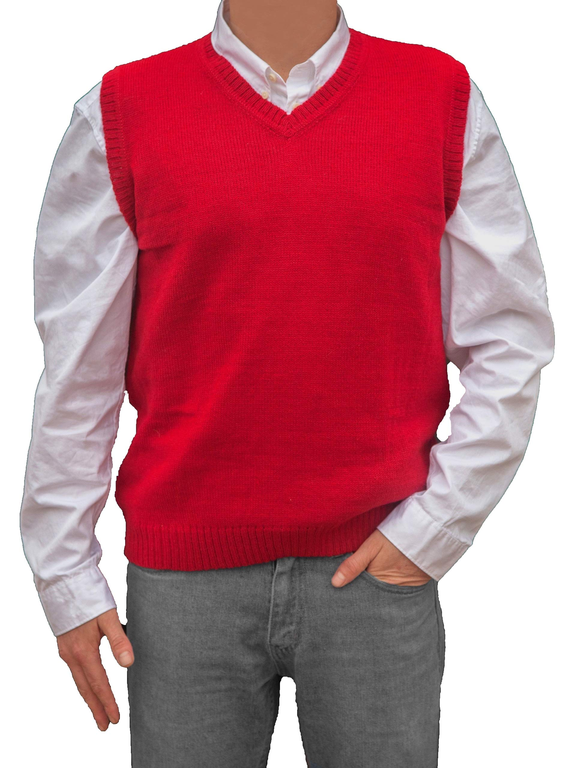 TINKUY PERU - Peruvian Alpaca Wool Mens Relax Fit Knit V-Neck Pullover Sweater Gilet Vest (XXX - Large, Red) by TINKUY PERU