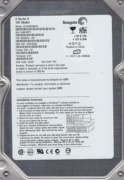 Amazon com: ST3160022ACE, 5JS, WU, PN 9W6024-191, FW 9 51