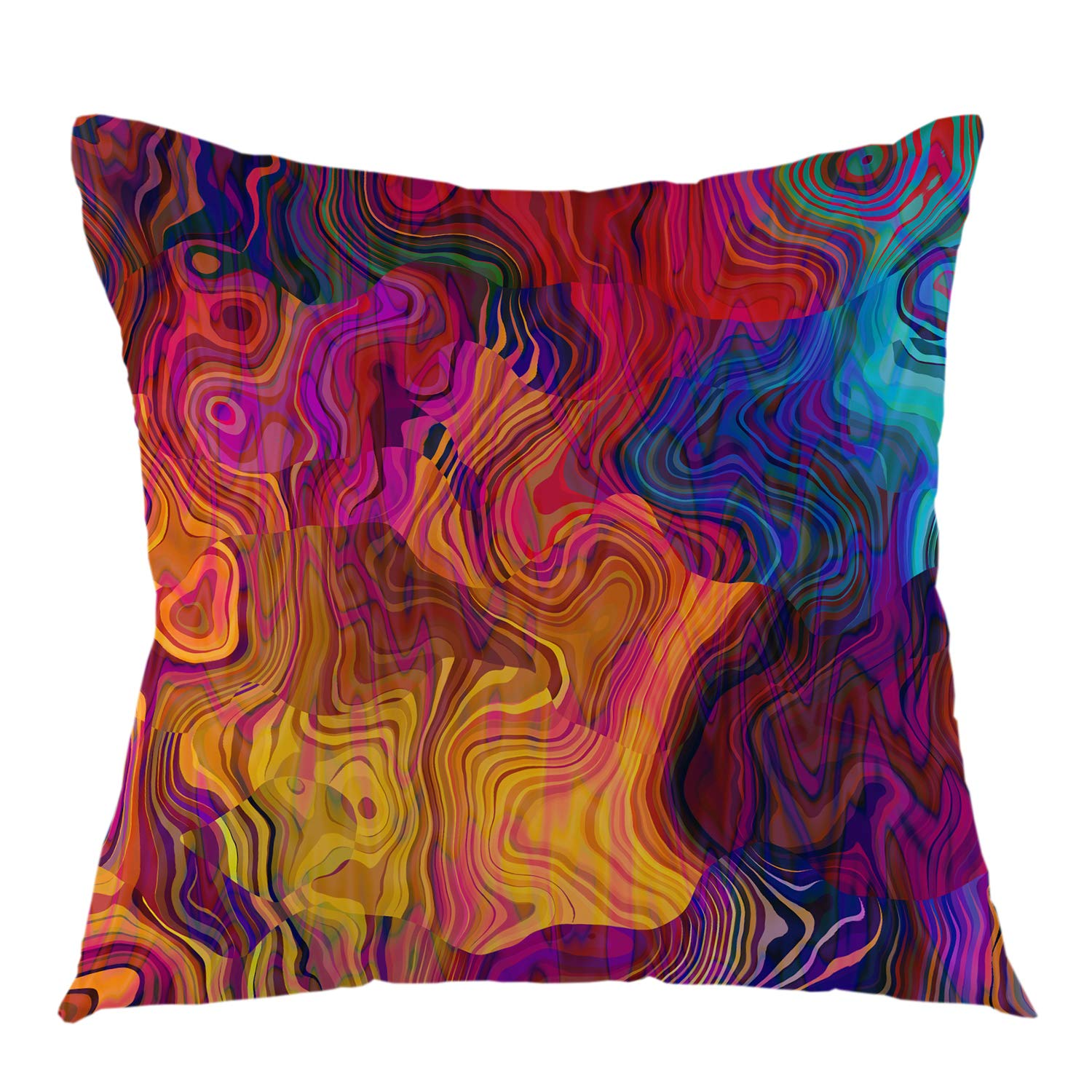 """oFloral Chaotic Waves Pillowcase,Colorful Rainbow with Purple Fuchsia Pink Red Orange Gold Blue Throw Pillow Cover Square Cushion Case for Sofa Couch Car Bed Home Decorative 18"""" x 18"""" inch"""