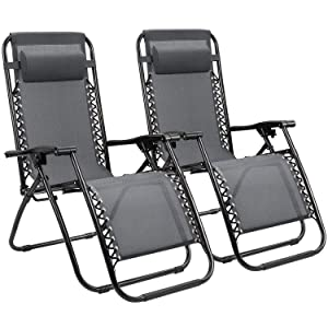 Homall Zero Gravity Chair Adjustable Folding Lawn Lounge Chairs Outdoor Lounge Gravity Chair Camp Reclining Lounge Chair with Pillows for Poolside Backyard and Beach Set of 2 (Gray)