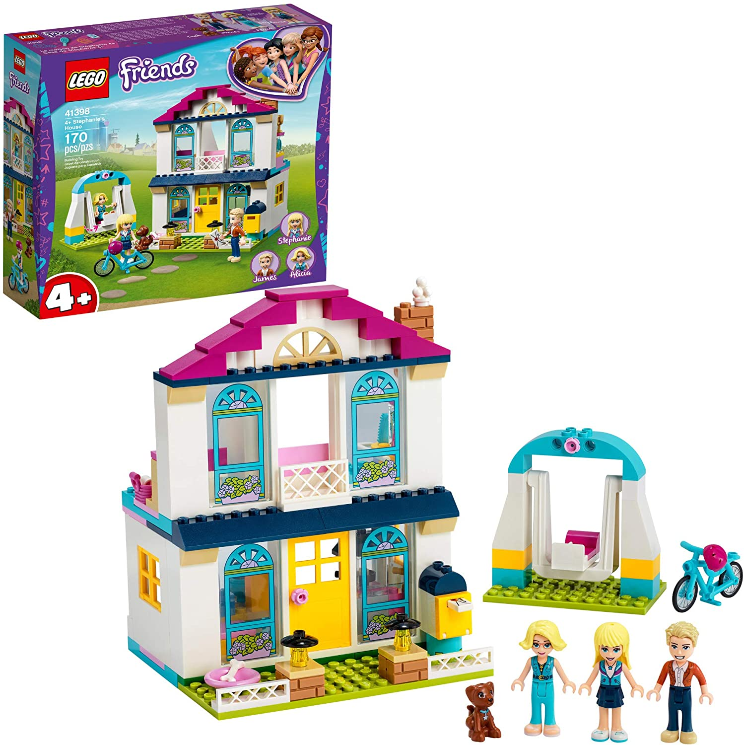 LEGO Friends 4+ Stephanie's House 41398 Mini-Doll's House, Lets Kids Role-Play Family Life Friends Stephanie, Alicia and James, New 2020 (170 Pieces)