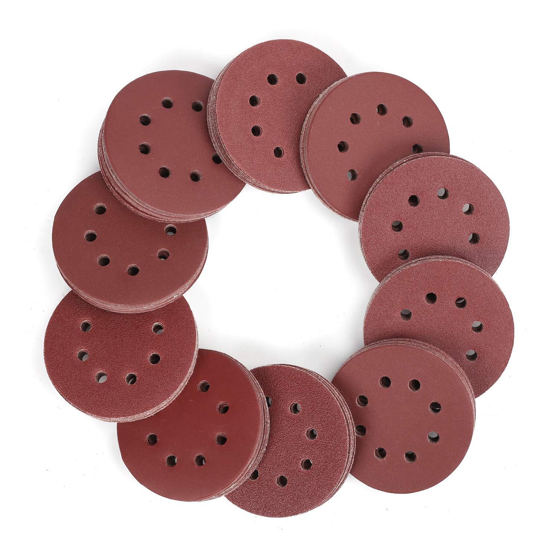 WORKPRO 150-piece Sandpaper Set - 5-Inch 8-Hole Sanding Discs 10 Different Grades Including 60, 80, 100, 120, 150,180, 240, 320, 400, 600 Grits for Random Orbital Sander