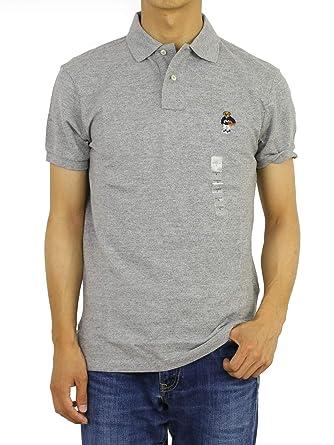 b5c1e0946 Polo Ralph Lauren Men Custom Fit Mesh Polo Shirt Gray Basketball Bear ( Medium)