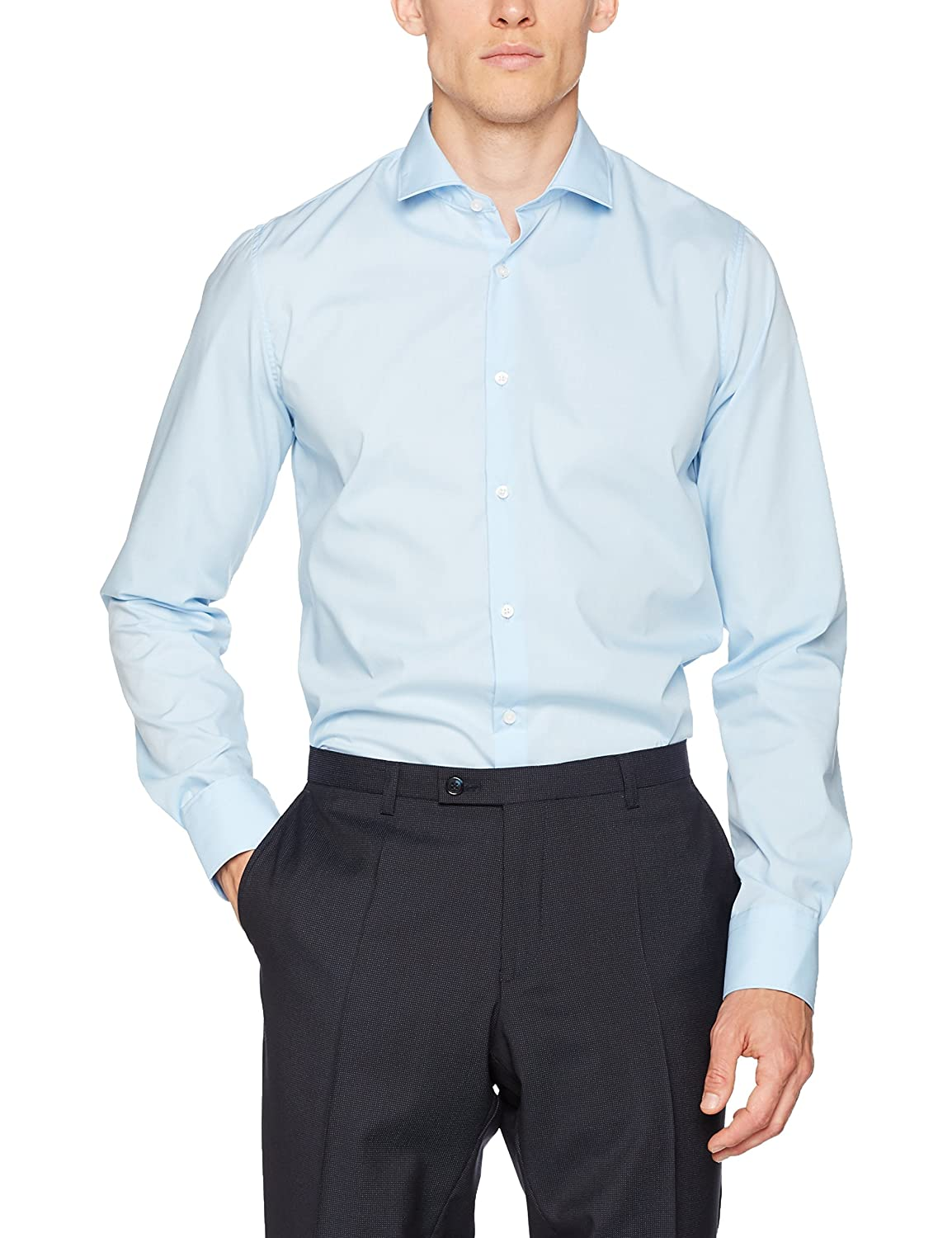 Club of Gents CG Slim-Chris, Camisa de Oficina para Hombre, Azul (Blau 61) 39