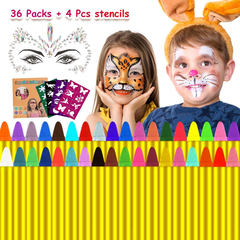 Emooqi Pascua de Resurrección Pintura Facial, 36 Colores Pintura de Cara Pintura Facial No Tóxico Pinturas Cara para Niños con 40 Plantillas,para Carnaval, Fiestas Temáticas - Regalo de Los Niños