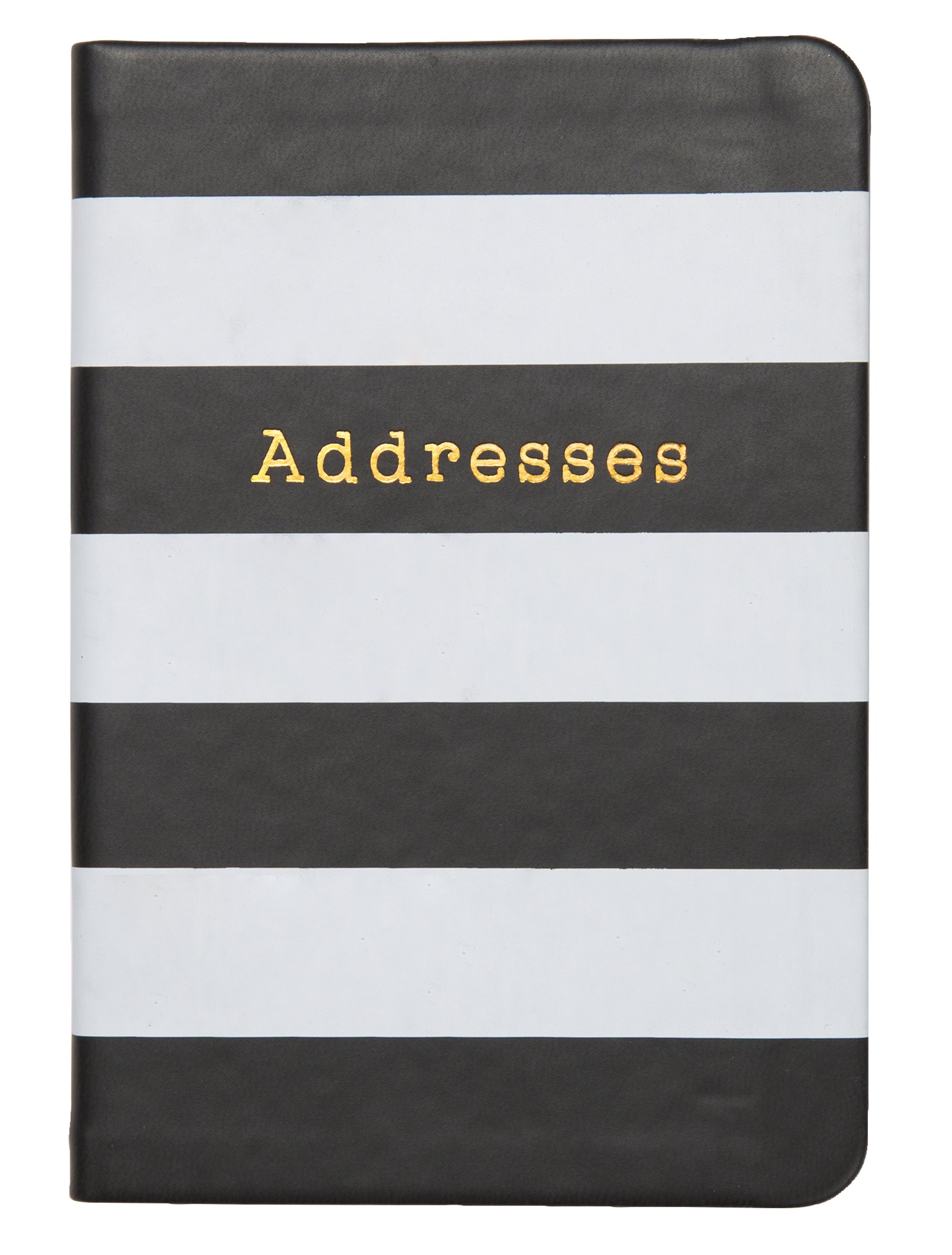 C.R. Gibson Small Address Book, 192 Pages, Debossed Leatherette Cover, Storage Pocket, Monthly Pages, Measures 3.5'' x 5.5'' - Black & White Stripes