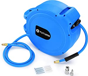 Air Hose Reel Retractable by Spring Driven 50ft Rewind by 3/8' inch for Wall Mount Swivel Hose Reel for Air Compressor Hose with Heavy Duty and 300PSI High Pressure Lightweight