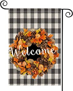 DFXSZ Garland Welcome Garden Flag, Avoid Fall Boxwood Vertical Double-Sided, Garden Courtyard Fall Sign, Buffalo Lattice Country Farmhouse Sign Field Outdoor Decoration 12 x 18 inches…