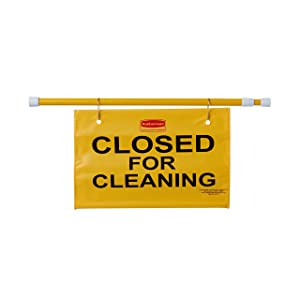 Rubbermaid Commercial FG9S1500YEL Hanging Site Safety Sign with Closed for Cleaning Imprint, English Only, Yellow