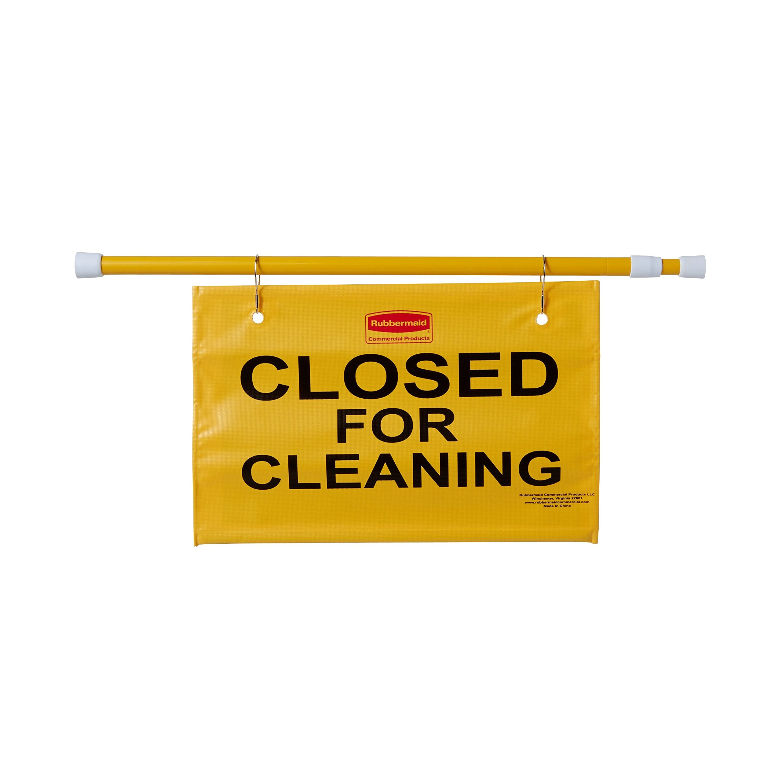 Rubbermaid Commercial Extend-to-Fit ''Closed For Cleaning'' Hanging Doorway Safety Sign, Yellow (FG9S1500YEL)