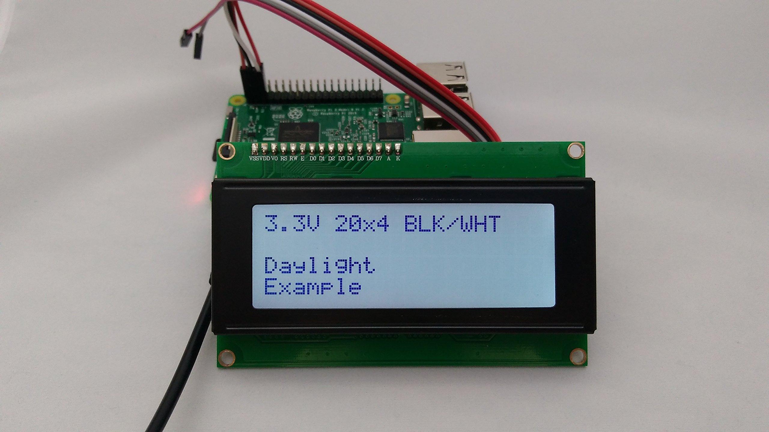 SPI I2C UART 20x4 LCD Black Text, White Background by rpigear