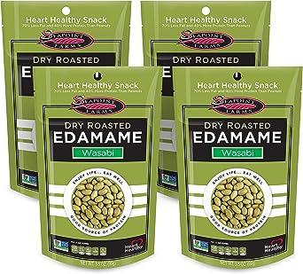 Seapoint Farms, Frijoles Edamame secos tostados, ricos en proteínas, veganos, sin gluten, sin OMG, sabor Wasabi, 99 g, paquete de 4