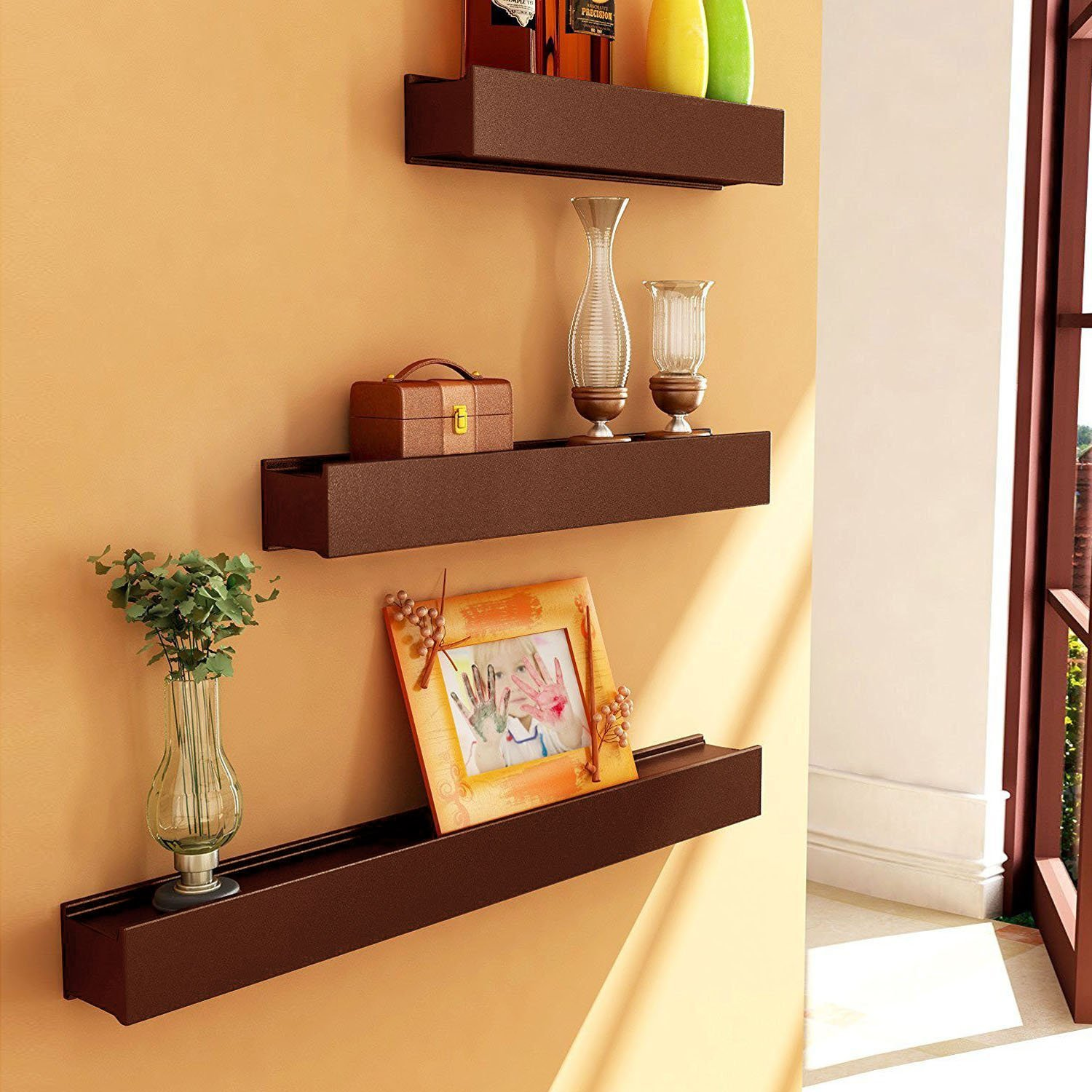 Artesia brown wooden wall shelf display rack shelf set of three artesia brown wooden wall shelf display rack shelf set of three amazon electronics amipublicfo Choice Image