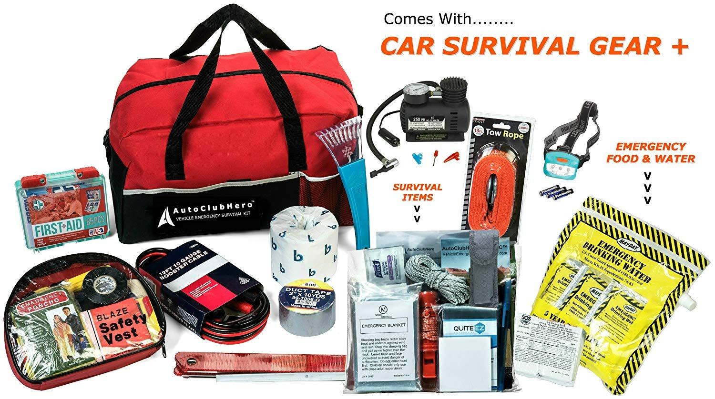 AutoClubHero Premium Car Emergency Kit 185-Pieces for Car Survival &  Roadside Assistance