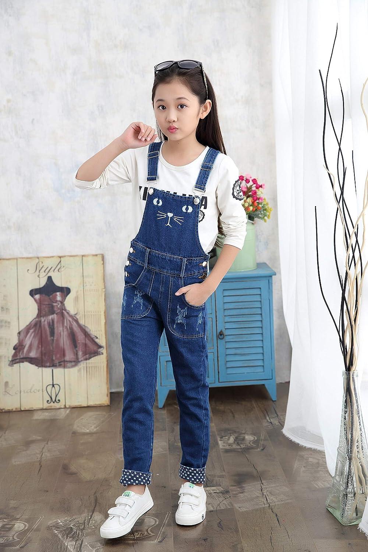 Girls Big Kids Long Jeans Cute Cat Embroidered Distressed Denim Bib Overalls 1P