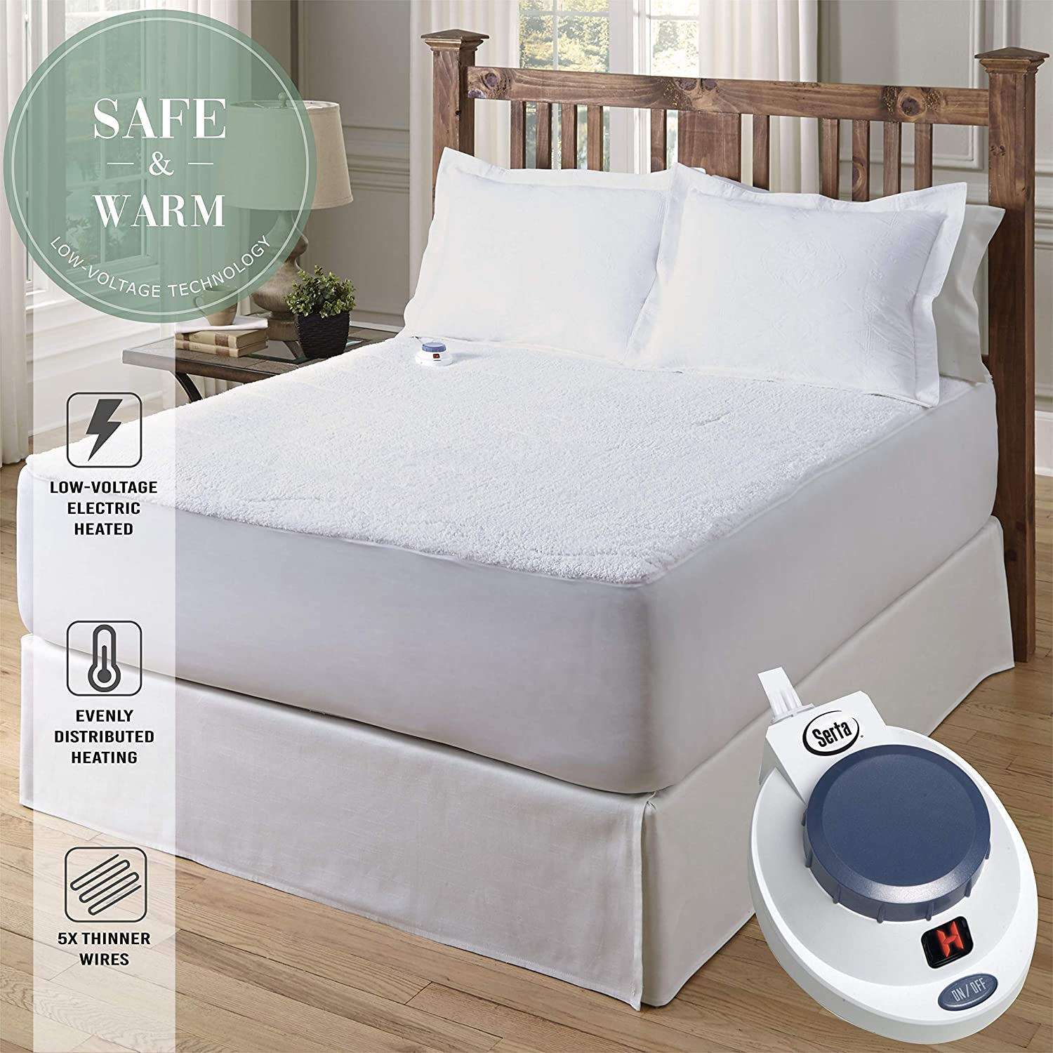 Amazon.com: Serta | Luxurious Sherpa Heated Electric Mattress Pad with Safe \u0026 Warm Low-Voltage Technology (King): Home Kitchen