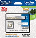 Brother Laminated Tape, 12mm (0.47 Inch), Gold on Silver (TZeMQ934)