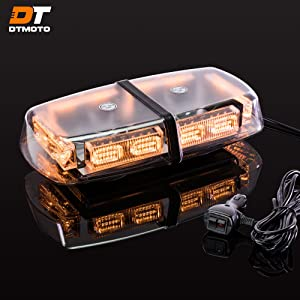 "12"" 36-Watt Amber LED Mini Light Bar w/ 17 Modes, IP66 Waterproof and Magnetic Mount - Amber Warning Strobe Light Bars for Hazard, Emergency, Snow Plow Vehicles"