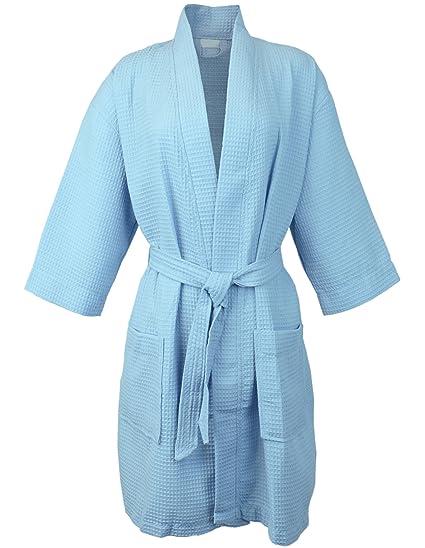 e2e900ed88 Amazon.com  BC BARE COTTON Thigh Length Waffle Kimono Robe