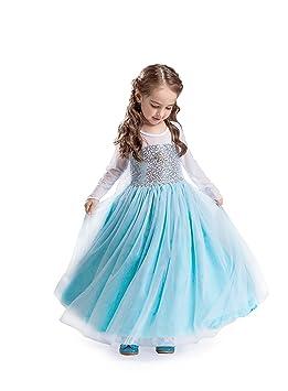 ELSA & ANNA® Mädchen Prinzessin Kleid Verrücktes Kleid Partei Kostüm Outfit DE-FR200 (7-8 Jahre, FR200)