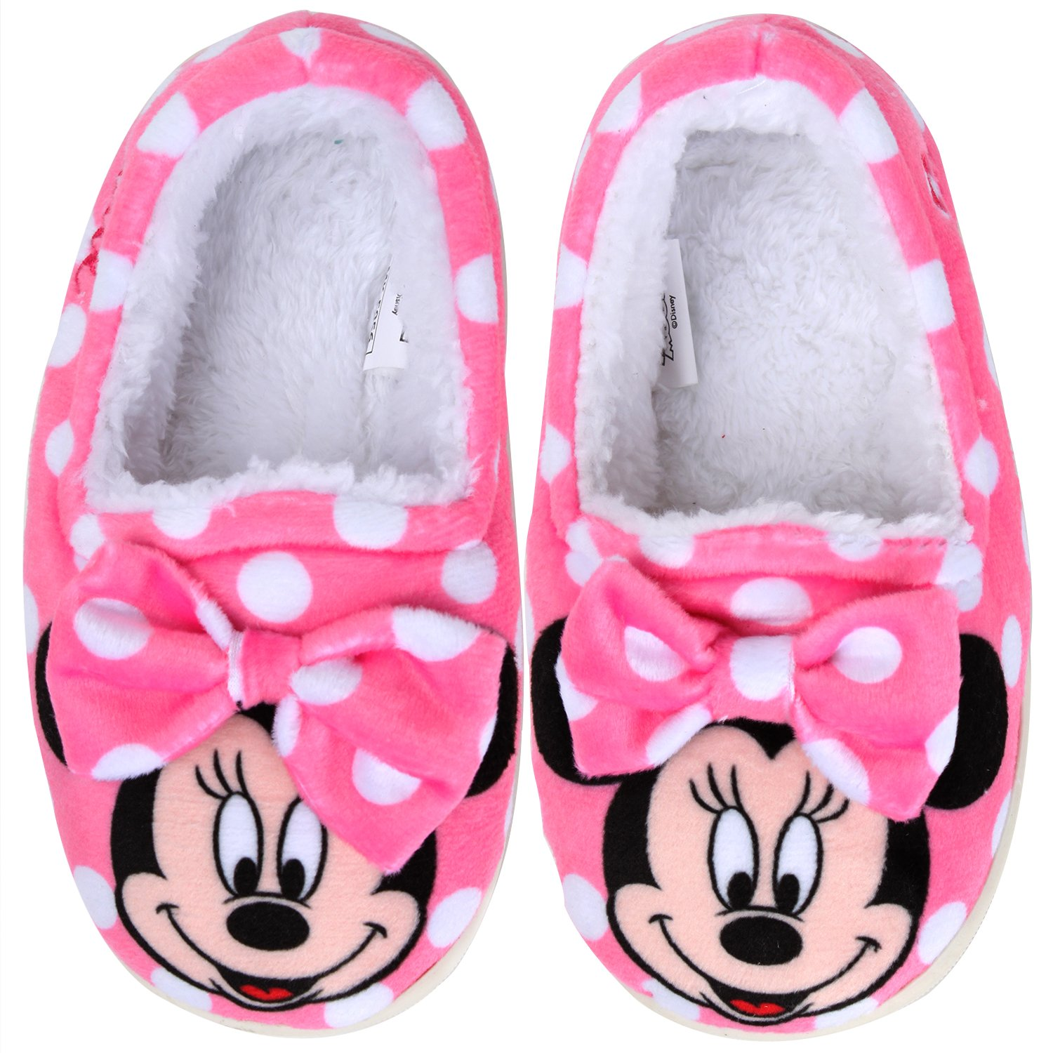 Joah Store Slippers for Girls Disney Minnie Mouse Warm Fur Indoor Pink Shoes