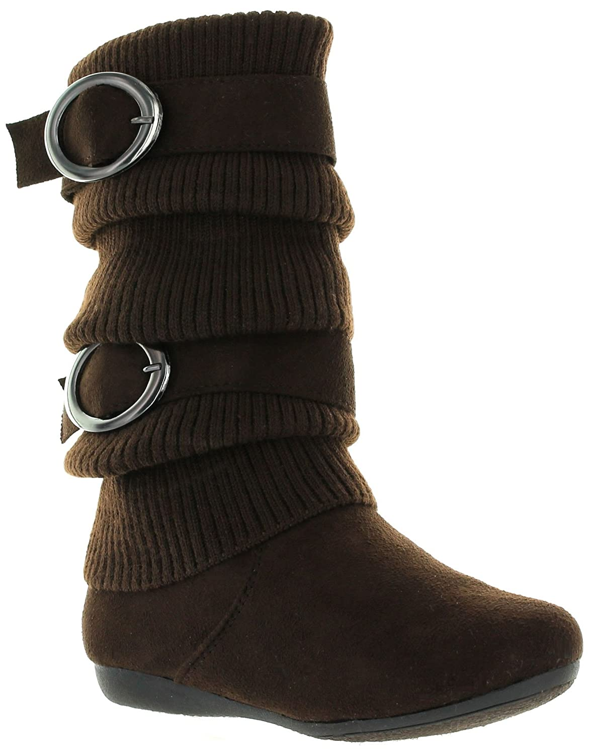 11 M Little Kid, BrownZARA EyesOnStyle New Girls Slouch Comf Tall Midcalf Suede Winter Boots Shoes