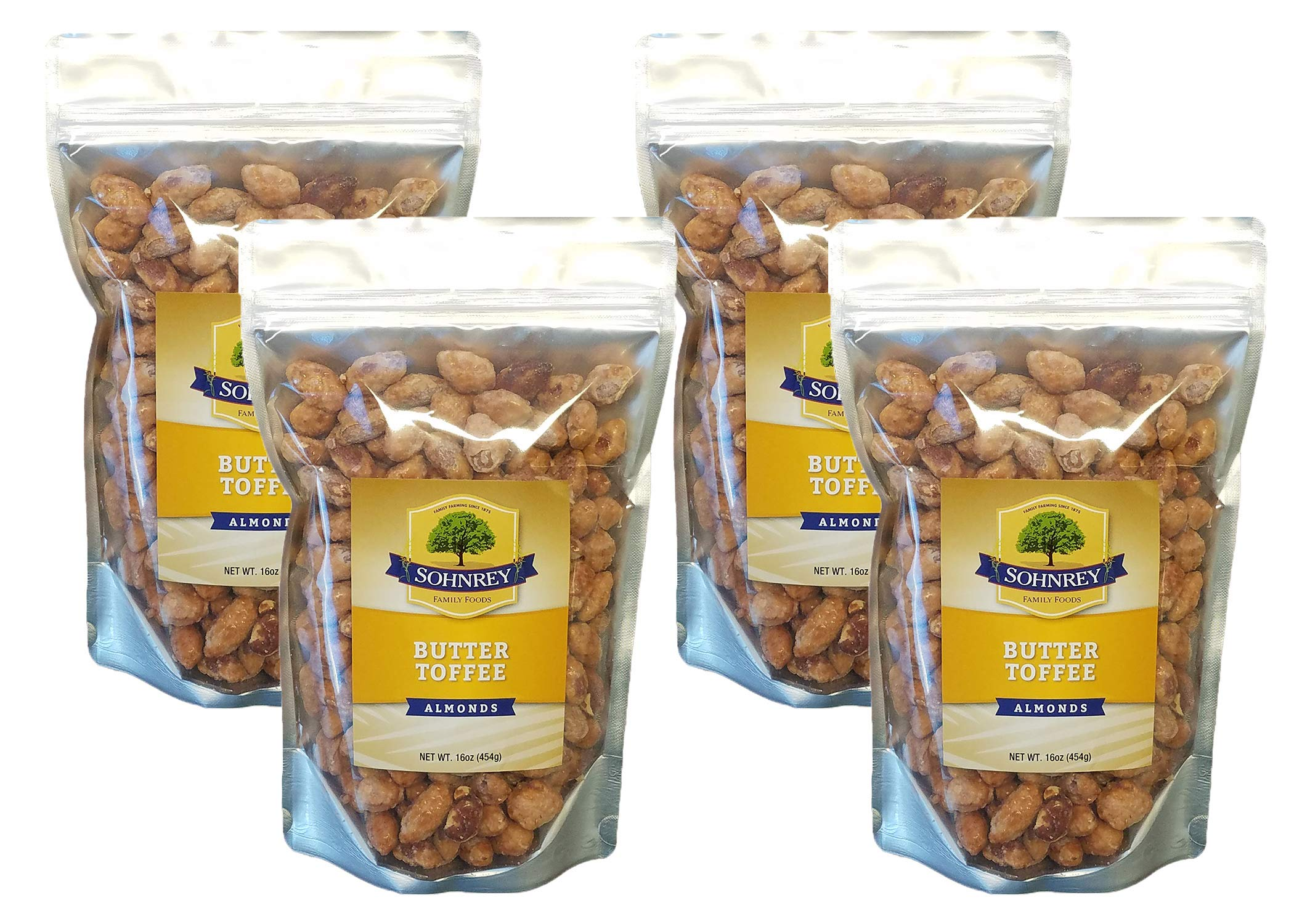 Butter Toffee Almonds Fresh Gourmet Sweet and Salty Crunch (16 oz) Resealable Bag from Sohnrey Family Foods (4-Pack (64 oz))