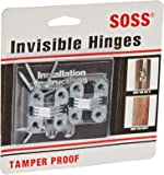 "SOSS Door Hardware Mortise Mount Invisible Hinges with 4 Holes, Zinc, Satin Chrome Finish, 1-1/2"" Leaf Height, 1/2"" Leaf Width, 19/32"" Leaf Thickness, #6 x 1"" Screw Size (1 Pair)"
