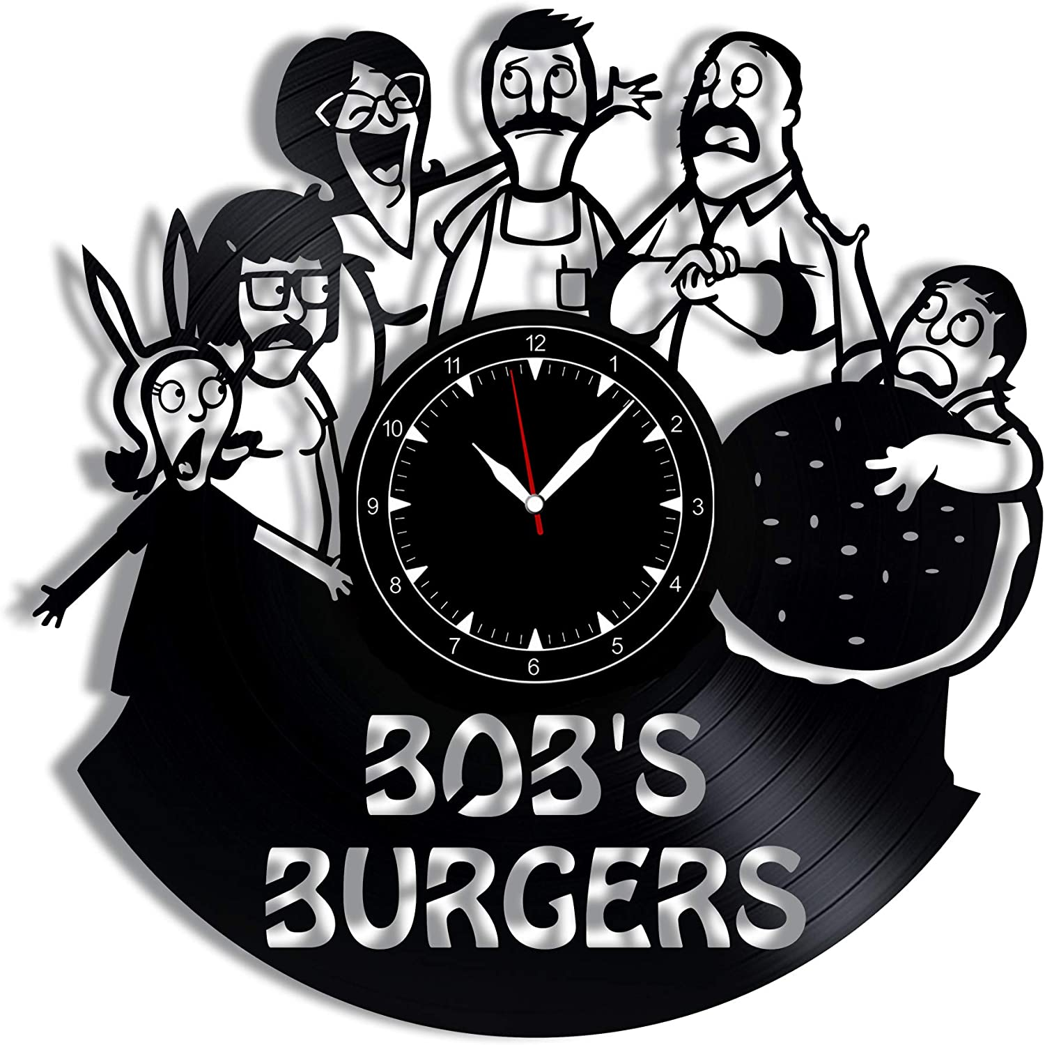 "Bob's Burgers Vinyl Record Clock 12"" - Wall Clock Bob's Burgers - Best Gift for Bobs Burgers Lovers - Original Wall Home Decoration"