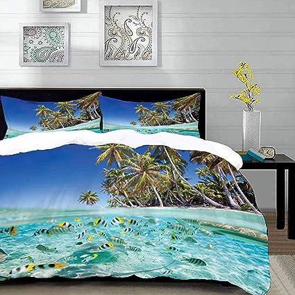 Parure De Lit Adulte Housse De Couette Tropical île Exotique