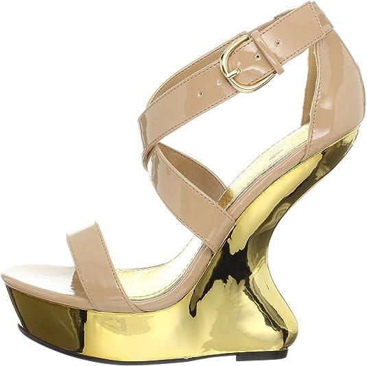 Luichiny Gear It Up Blush Patent Gold Heel Less Wedge Platform Shoe 6-10