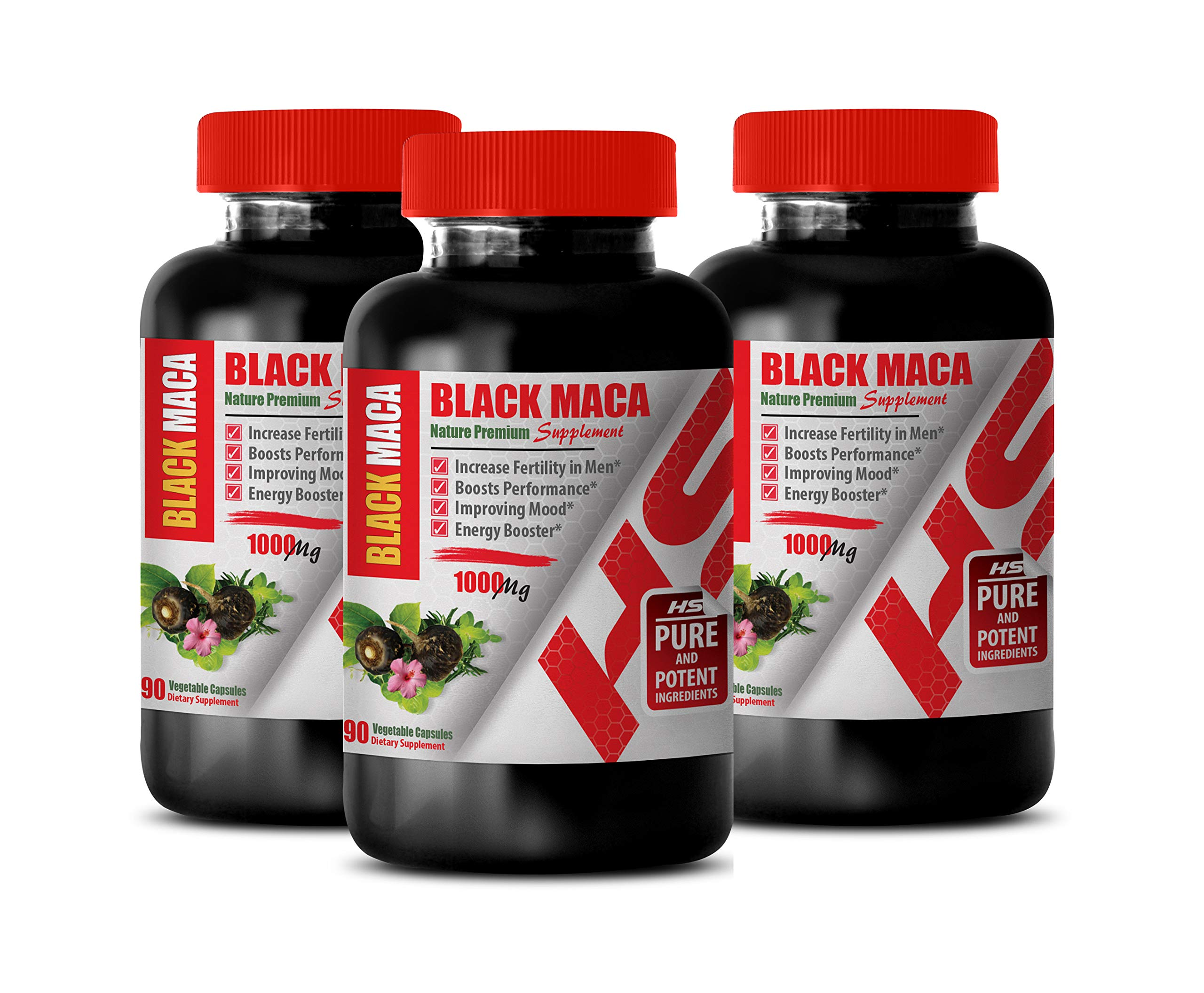 Performance Booster for Men - Black MACA 1000 Mg - Natural Premium Supplement - maca Supplement for Men - 3 Bottles 270 Vegetable Capsules by Healthy Supplements LLC