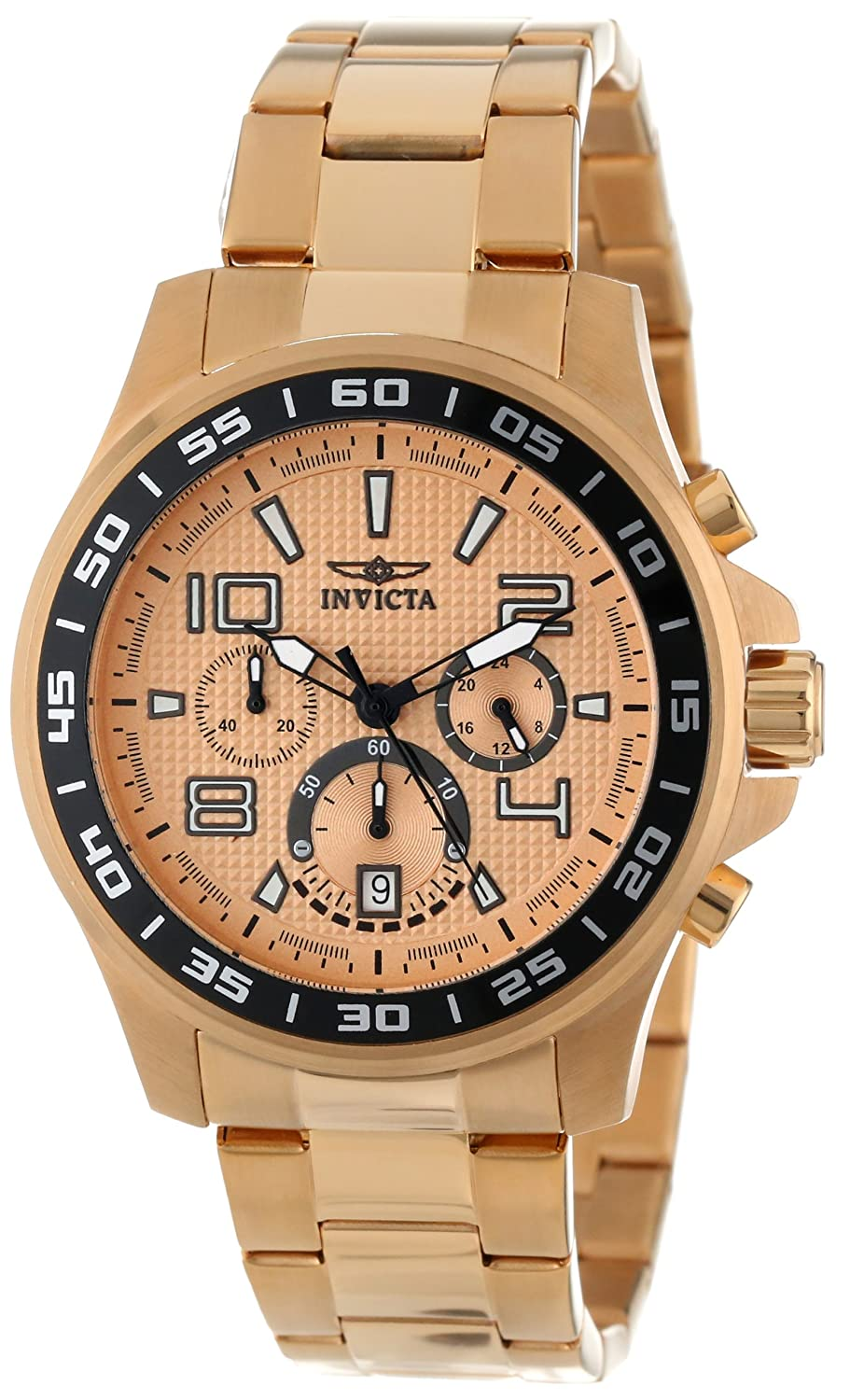 Invicta Men s 14392 Specialty Chronograph Gold Dial 18K Gold Ion Plated Stainless Steel Watch