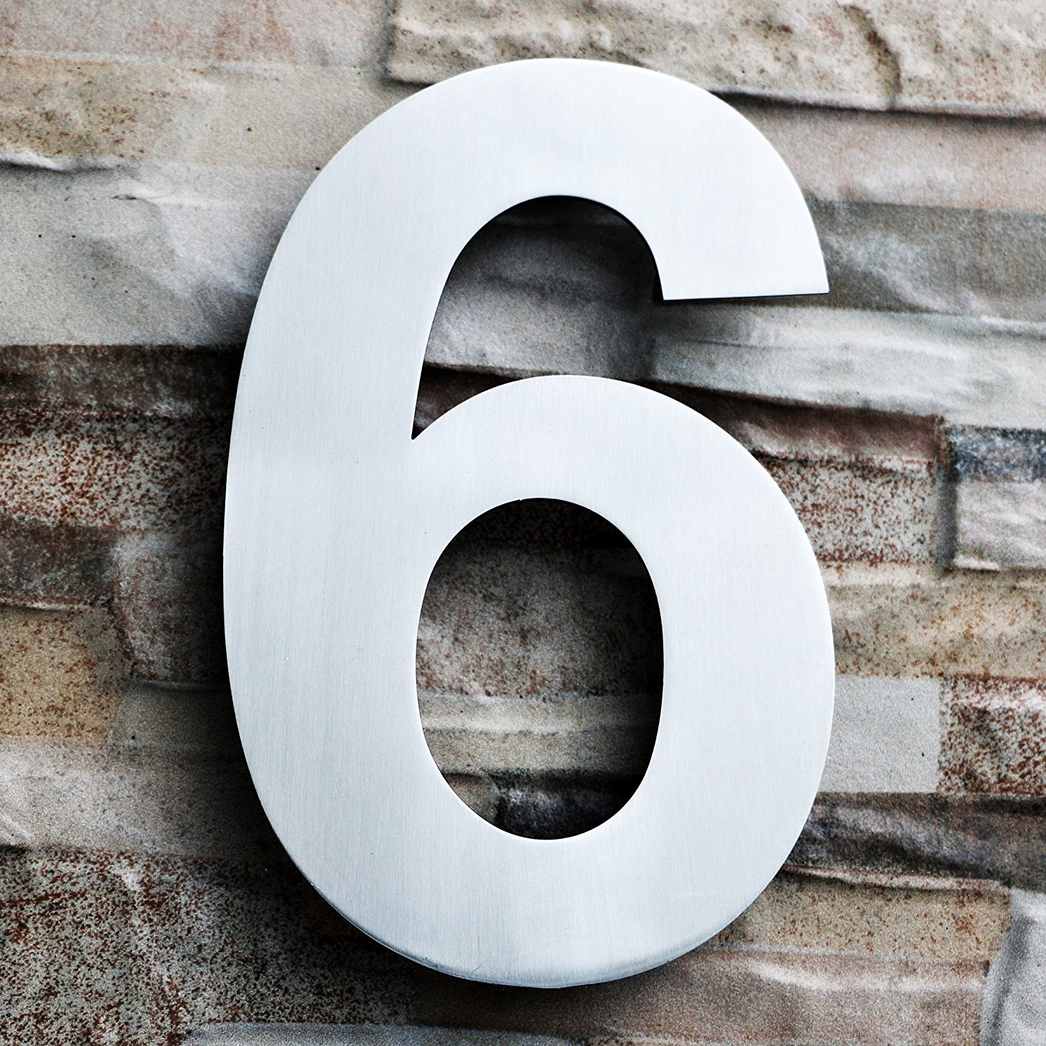QT Modern House Number - LARGE 8 Inch - Brushed Stainless Steel (Number 6 Six / 9 Nine), Floating Appearance, Easy to install and made of solid 304