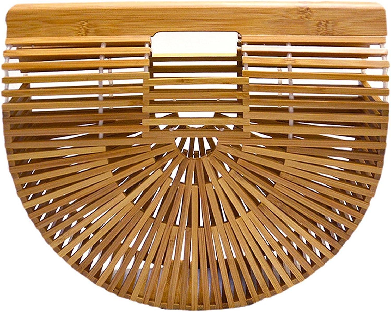 Synker Femme Sac /à Main Bambou artisanal Plage d/ét/é Fourre-Tout Semi-circulaire