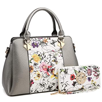 6432f11a10d7 Amazon.com  MK Belted collection Fashion Hobo Handbag for Women~2 PCS  Women s Tote Bag Satchel Handbag Shoulder Bags W coin purse (8013-Silver ...