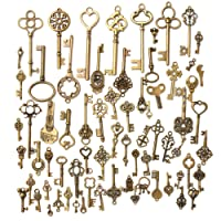 SODIAL 70X Vintage Keychain Bronze Color Necklace Jewelry DIY Decoration Steampunk