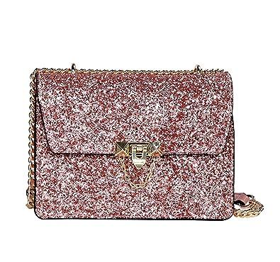 a94d8e6726f29 Mioy Elegant umhängetasche Damen Handtasche Leder Henkeltaschen Kleine  Schultertasche lässig Damentaschen Mit Pailletten (Pink)