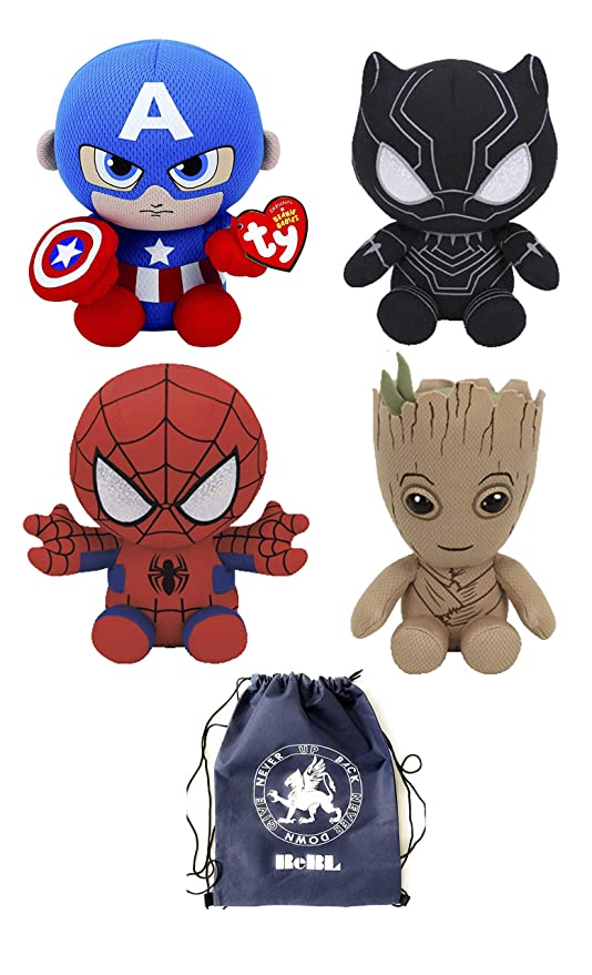 Awe Inspiring Set Of 4 Ty Beanie Baby 6 Spider Man Hulk Iron Man Captain Pdpeps Interior Chair Design Pdpepsorg